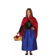 Guirca Disfraz de princesa primavera azul y rojo para niña - Talla 3 a 4 años