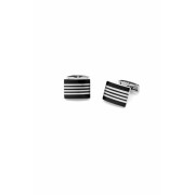Černé manžetové knoflíčky stříbrné proužky Avantgard 573-20305