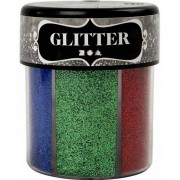 Geen Potje glitters met felle kleuren