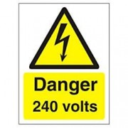 Unbranded Warning Sign 245 Volts Plastic 40 x 30 cm