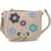 Nine West Women Casual Beige, Multicolor Genuine Leather Sling Bag