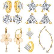 Jewels Galaxy Bestselling Combos Of Fancy American Diamond Earrings 1 Fashion Earring And 1 Earcuff - Combo Of 7