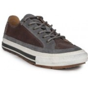 Clarks Nepler Vibe Grey Leather Sneakers For Men