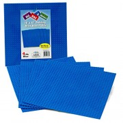 """Brick Building Base Plates By SCS - Large 10""""x10"""" Blue Baseplates (4 Pack) - Tight Fit with Lego"""