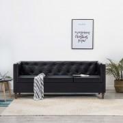 vidaXL 3-местен Честърфийлд диван, тапицерия от изкуствена кожа, черен
