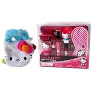 "2 Item Bundle: 8"" Hello Kitty Plush Purse Handbag with Handles and Hello Kitty Sleepover Gift Set for Girls (See Details)"