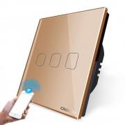 Intrerupator triplu WiFi cu touch Cnskou, panou tactil de sticla cristal, auriu