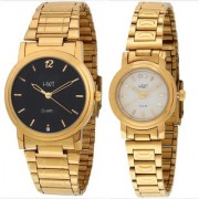 HWT Round Black Dial And White Dail Gold Metal Analog Couple Watches combo