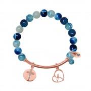 CO88 Armband met bedels bar/kruis/open hart rosé/blauw 8CB-50008