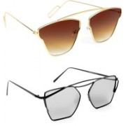 TheWhoop Aviator Sunglasses(Brown, Silver)