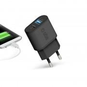 SBS Mobile 2-Poorts USB A Thuislader 2.1A / 1A - Zwart