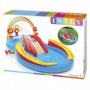 Intex centru de joaca cu piscina Rainbow Ring gonflabil 57453NP- piscina cu topogan