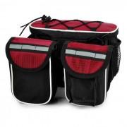 Yanho 4 en 1 Multifuncional Bike Tube Saddle Bag - Negro + Rojo