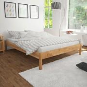vidaXL Двойно легло с матрак от мемори пяна, дъб масив, 140x200 cм