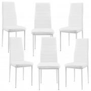[en.casa]®Тапициран стол, еко кожа - комплект от 6 броя - Бели