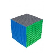 The Cube by Strictly Briks | 3D Building Brick & Storage Container Set Pat. Pending | Compatible with All Major Brands | 6 Square Plates | Double Sided for Large & Small Bricks (Green, Blue and Gray)