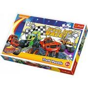 Puzzle clasic pentru copii - Blaze si masinile uriase 100 piese