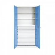 TechnoBank Kovová dílenská skříň 92 x 195 cm 3x2U, 1x3U, 3x4U modrá - ral 5012