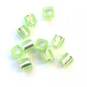 Pkt of 10 FLORESANT LIME GREEN SQUARE BEADS WITH SILVER CENTRES