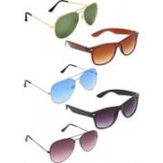 Zyaden Aviator, Aviator, Aviator, Wayfarer, Wayfarer Sunglasses(Green, Blue, Violet, Brown, Black)