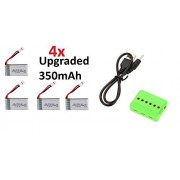 Carson X4 Cam Quadcopter [QTY: 1] 6 in 1 3.7v 1S Battery Charger Up To x Batteries At Same Time [QTY: 4] 350mAh 25c Lipo Rechargeable Power Pack HM-V100D03BL-Z-12