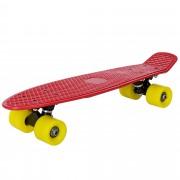 [pro.tec] Monopatín retro - Skateboard / Mini Cruiser - rojo - amarillo - (57cm)