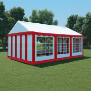 vidaXL aiatelk, PVC, 4 x 6 m, punane ja valge