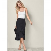 Lace Ruffle Midi Skirt Shorts & Skirts - Black