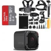 Спортна камера GoPro HERO Session, CHDHS-102, 1080р60, 8 MP, Черна + Аксесоари 19 в 1за GoPro, Action Camera Accessories + Карта памет SANDISK Ultra m