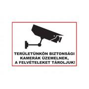 NTR Üveg matrica 1 A5 - TERÜLETÜNKÖN BIZTONSÁGI KAMERÁK ÜZEMELNEK, A FELVÉTELEKET...