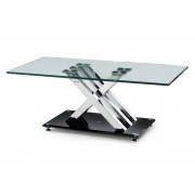 X-Frame Glass & Chrome Coffee Table