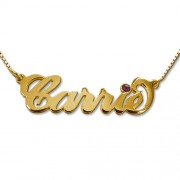 Personalized Men's Jewelry 18K Gold Plated Sterling Silver Carrie Style Name with Swarovski Necklace 101-01-259-09