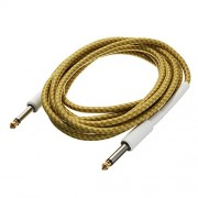 Rishil World 3M Guitar Cable Yellow Braided Tweed Cord Wire for Guitar Bass