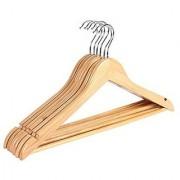 6th Dimensions Wooden Coat Trouser Skirt Garment Natural Wood Hanger (Set of 6 Pcs)