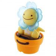 Generic Solar Powered Dancing Flip Flap Car Home Desk Dancer Bobble Toy Blue Flower