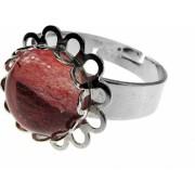 Inel aliaj reglabil floricica cu cuart cherry GlamBazaar Reglabila cu Cuart roz Roz tip inel din aliaj metalic reglabil cu pietre