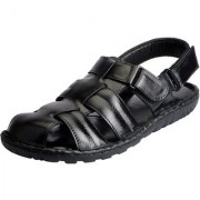 Fausto Men's Black Leather Outdoor Floaters and Sandals
