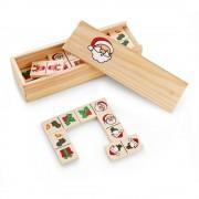 Joc Domino cu motive de Craciun, 147x50x30 mm, Everestus, 11NP1920, lemn, natur, 2 bastonase gonflabile incluse