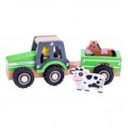 New Classic Toys Tracteur en bois avec remorque