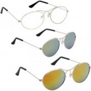 Phenomenal Oval Sunglasses(Clear, Green, Yellow)