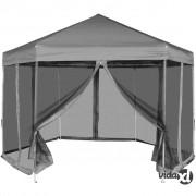 vidaXL Heksagonalni Pop-Up Šator sa 6 Panela Sivi 3,6x3,1 m