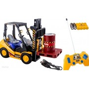 Powerpak 6 Channel Electric Rc Remote Control Full Functional Forklift Toy with Lights, Pallet and Barrel Pretend Play (Comes with all the Batteries and battery Charger)