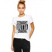 Tricou dama alb - Straight Outta Craiova