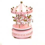 Carusel muzical cu caluti roz