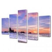 Tablou Canvas Premium Peisaj Multicolor Plaja pastel in California Decoratiuni Moderne pentru Casa 120 x 225 cm