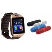 Zemini DZ09 Smartwatch and Facebook Pill Bluetooth Speaker for LG OPTIMUS G (DZ09 Smart Watch With 4G Sim Card Memory Card| Facebook Pill Bluetooth Speaker)