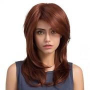 Sihui Pelucas La Sra pelo largo multicolor en Europa peluca franja oblicua de desplazamiento de pera hebilla (color : Red Brown)