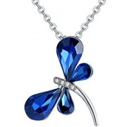 Om Jewells Blue Crystal Elements Enriched Butterfly Pendant Necklace crafted for Girls and Women PD1000823