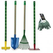 Toy Gardening Tools Bundle with Eric Carle Very Hungry Caterpillar Garden Tools and Kinco Latex Dipped Gloves