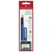 Faber-Castell Penna Stilografica Scolastica Fusto Colore Blu Con 6 Cartucce Inchiostro Blu Ricambio In Dotazione